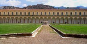 Veduta di Padula dal Chiostro Grande della Certosa di San Lorenzo